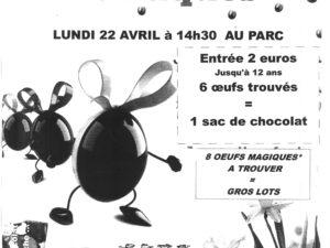 CHASSE AUX OEUFS DE PÂQUES LE 22/04