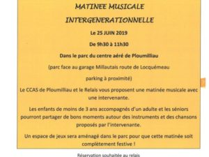 MATINEE MUSICALE INTERGENERATIONNELLE LE 25/06