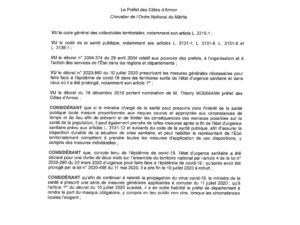 ARRÊTE PORTANT OBLIGATION DU PORT DU MASQUE DANS LES CÔTES-D'ARMOR