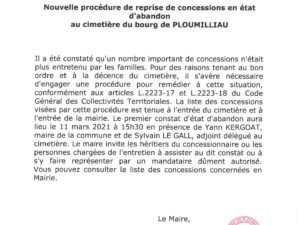 PROCEDURE REPRISE CONCESSIONS EN ETAT D'ABANDON